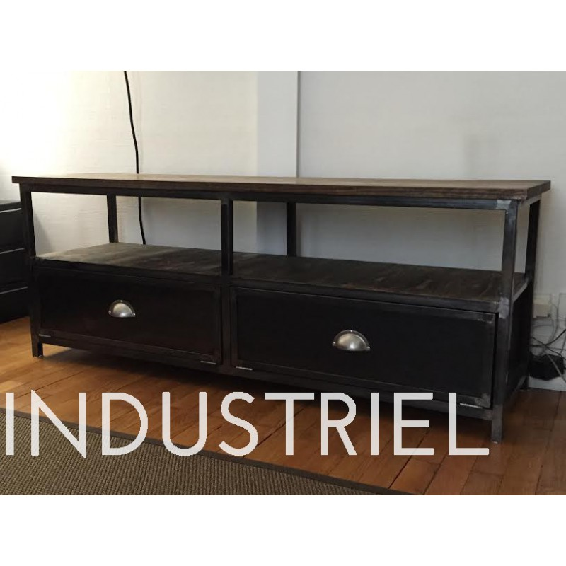 meuble tv bois metal industriel maison design. Black Bedroom Furniture Sets. Home Design Ideas