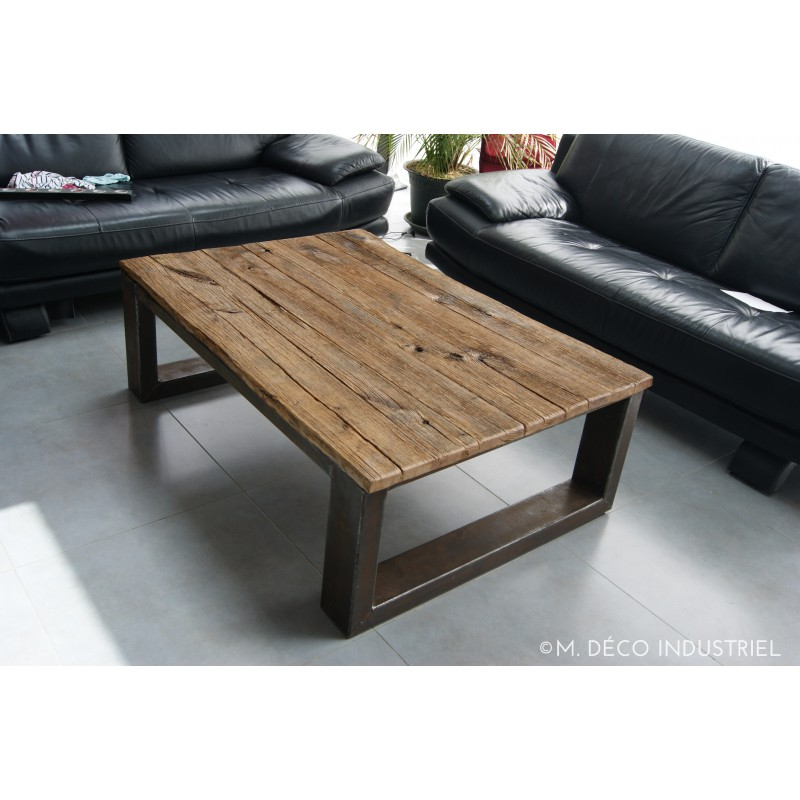 Meuble industriel table basse ch ne massif m d co for Table de salon style industriel