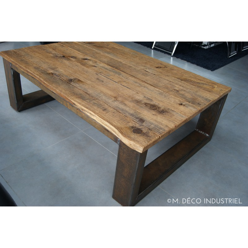 Meuble industriel table basse ch ne massif m d co - Table cuisine style industriel ...
