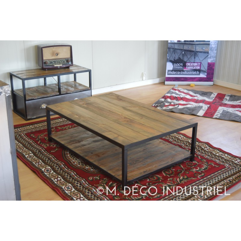 Meuble industriel table basse vieillis m d co industriel - Meuble table basse ...