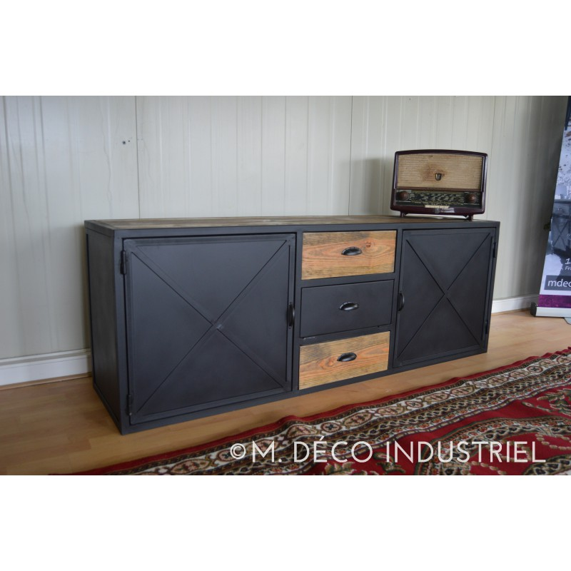 meuble tv acier et bois maison design. Black Bedroom Furniture Sets. Home Design Ideas