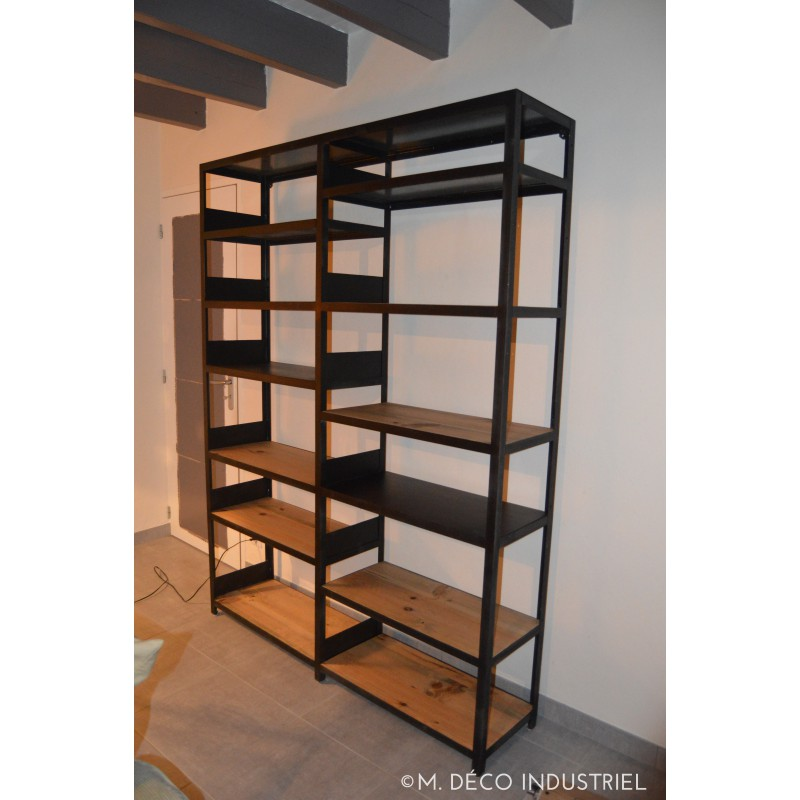 biblioth que industriel acier et bois massif m d co industriel. Black Bedroom Furniture Sets. Home Design Ideas