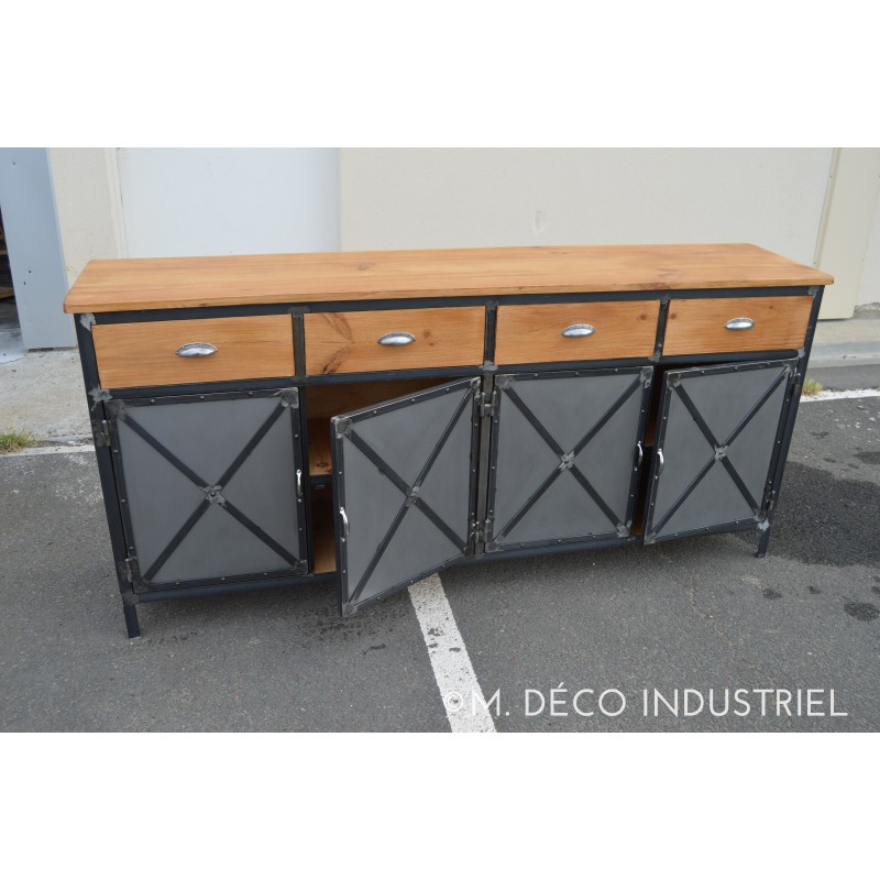 meuble industriel buffet 4 portes acier 4 tiroirs m d co industriel. Black Bedroom Furniture Sets. Home Design Ideas