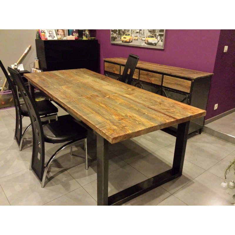 Table salle manger style usine for Table en bois industriel