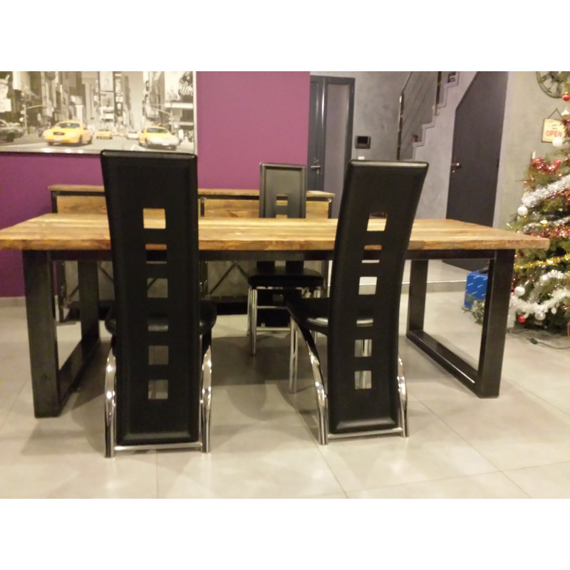table de salle a manger industriel pied en acier plateau. Black Bedroom Furniture Sets. Home Design Ideas