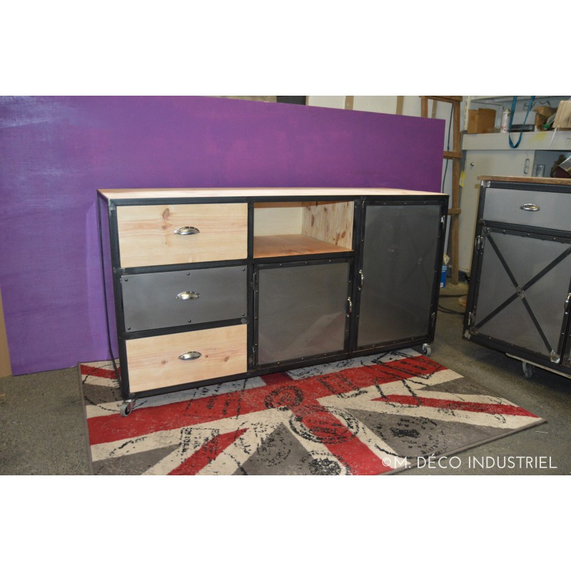 meuble industriel tv acier et bois m d co industriel. Black Bedroom Furniture Sets. Home Design Ideas