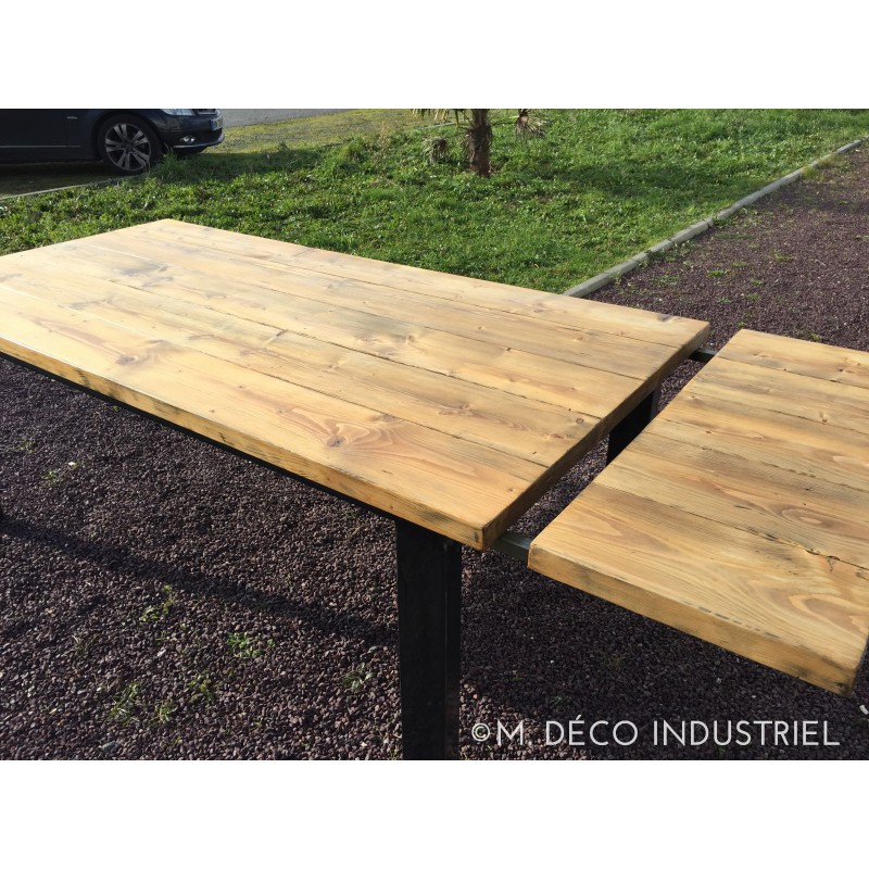 Meuble industriel table de salle a manger rallonge m for Table de style industriel