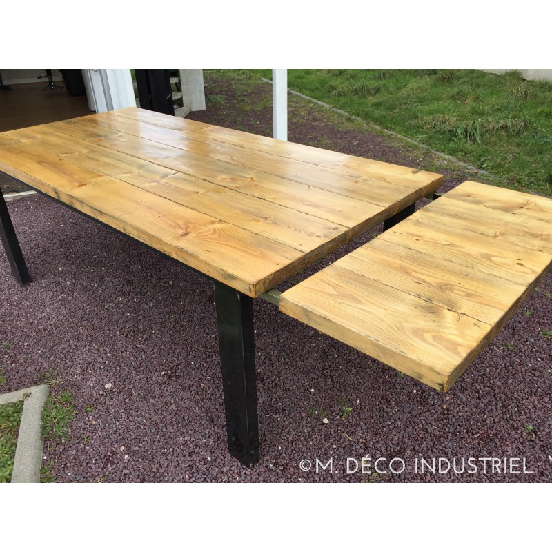Meuble industriel table de salle a manger rallonge m for Table a manger style industriel