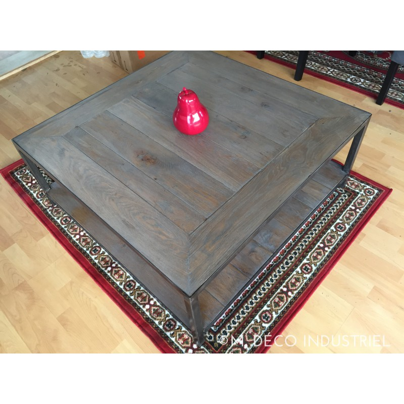 Meuble industriel table basse ch ne massif gris m d co for Meuble table basse