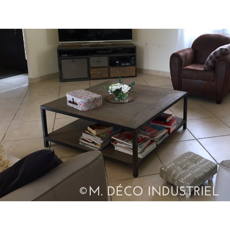 Meuble industriel table basse ch ne massif gris m d co - Meuble table basse ...