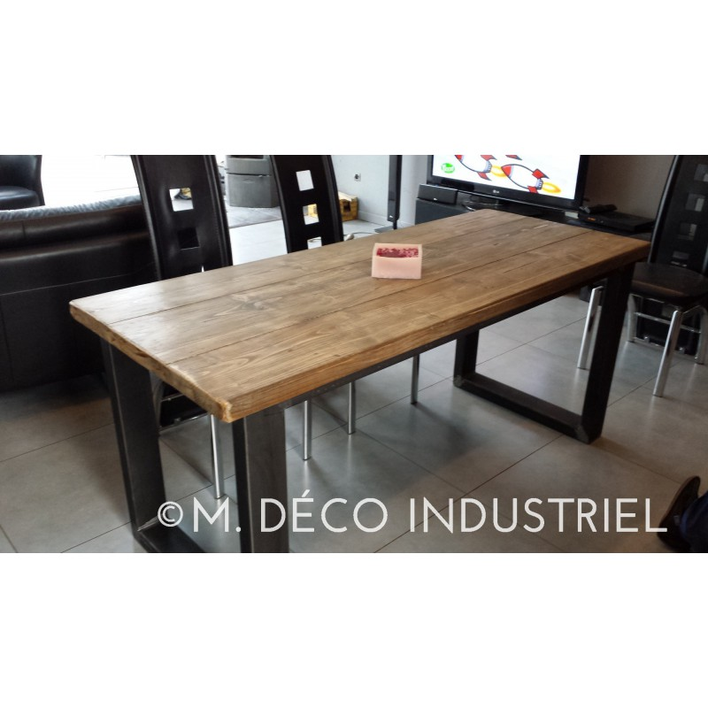 Table salle a manger bois vieilli top charming table for Ensemble salon salle a manger industriel