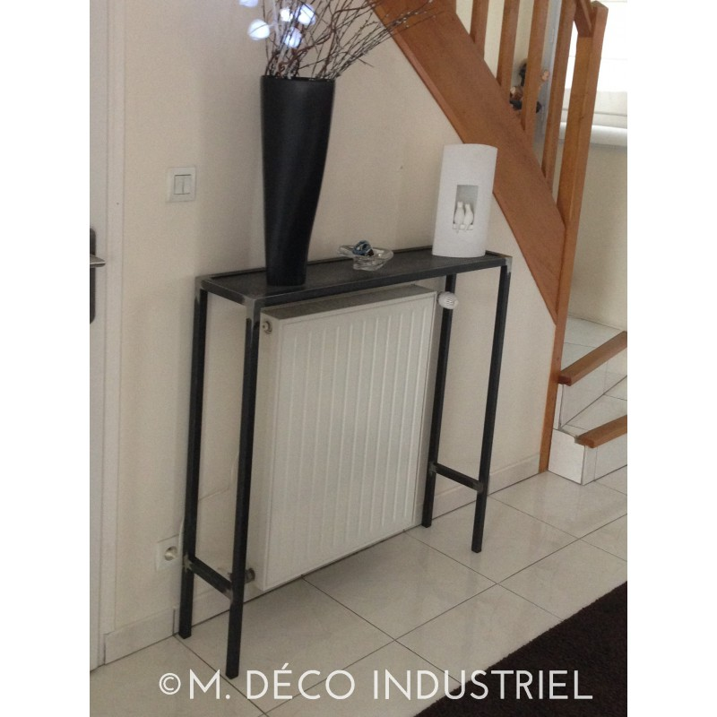 meuble industriel console cache radiateur m d co industriel. Black Bedroom Furniture Sets. Home Design Ideas