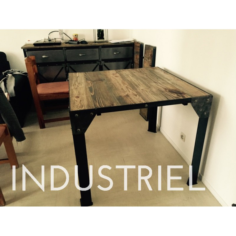 Meuble industriel table manger m d co industriel - Table de salle a manger style industriel ...