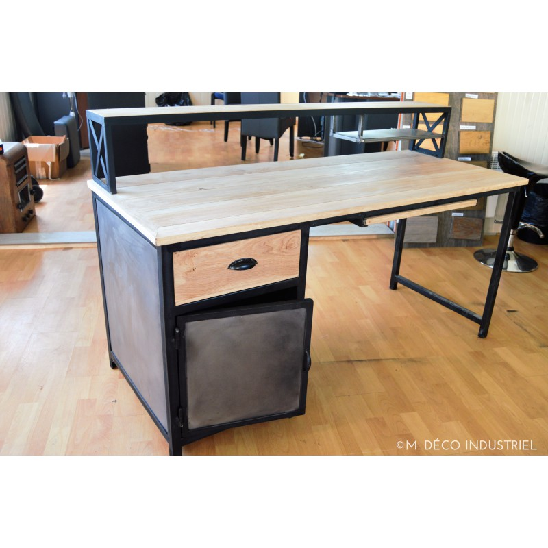 Meuble industriel bureau ch ne massif m d co industriel for Bureau style industriel