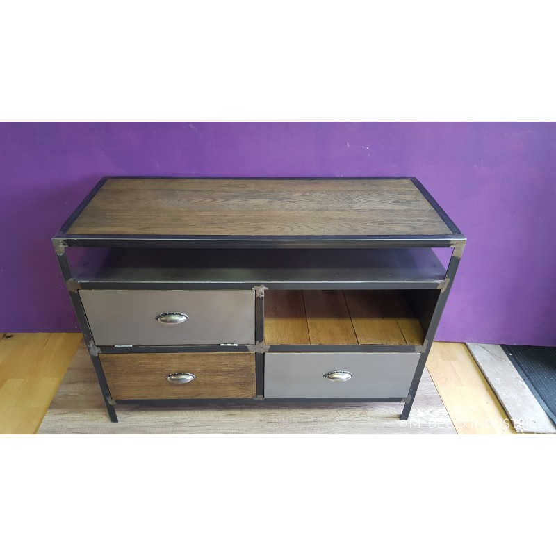 meuble industriel tv acier et bois vintage m d co. Black Bedroom Furniture Sets. Home Design Ideas
