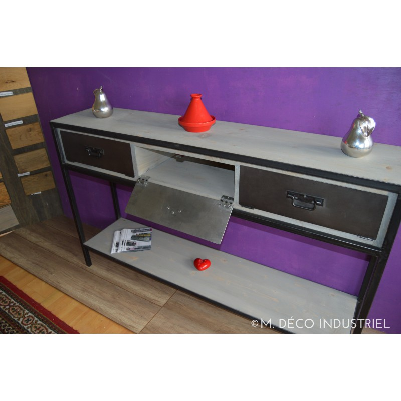 console industriel 3 clapets en acier m d co industriel. Black Bedroom Furniture Sets. Home Design Ideas