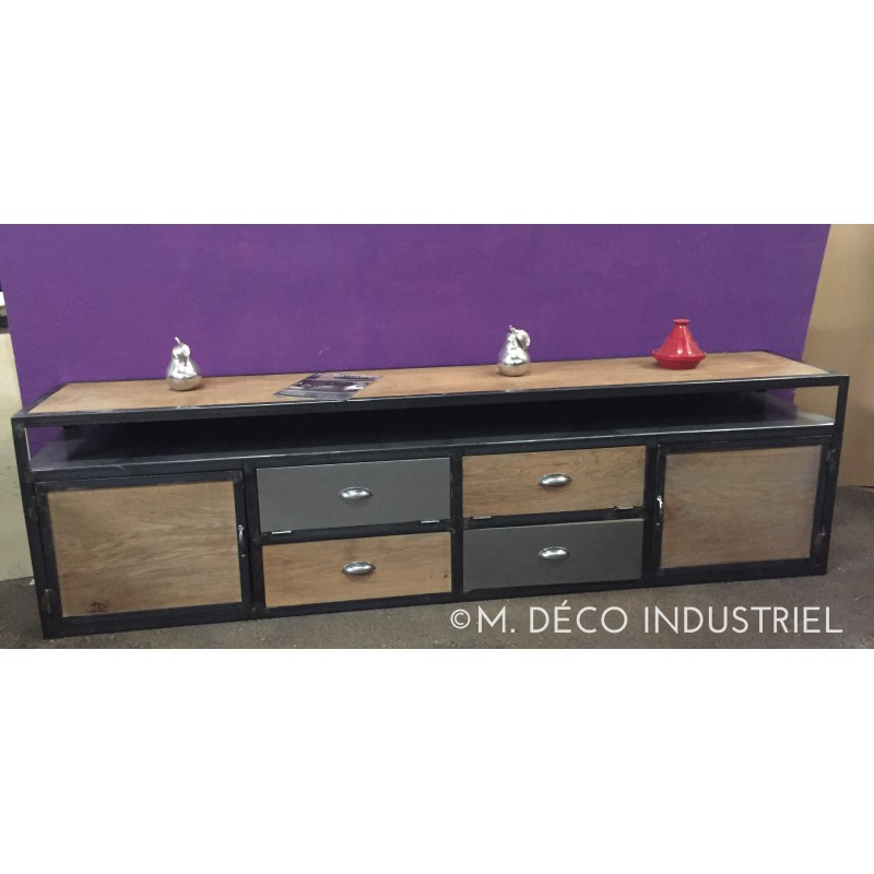 meuble industriel tv acier et ch ne massif 2 portes en bois massif 2 tiroirs m d co industriel. Black Bedroom Furniture Sets. Home Design Ideas