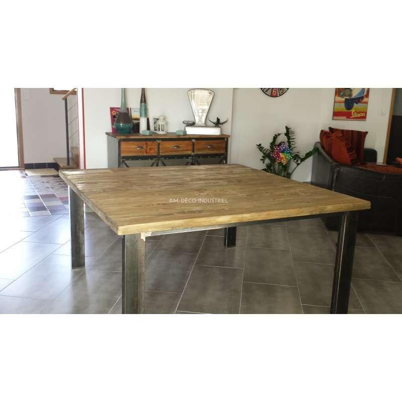 Table De Salle A Manger 4 Pieds Metal Sapin Massif