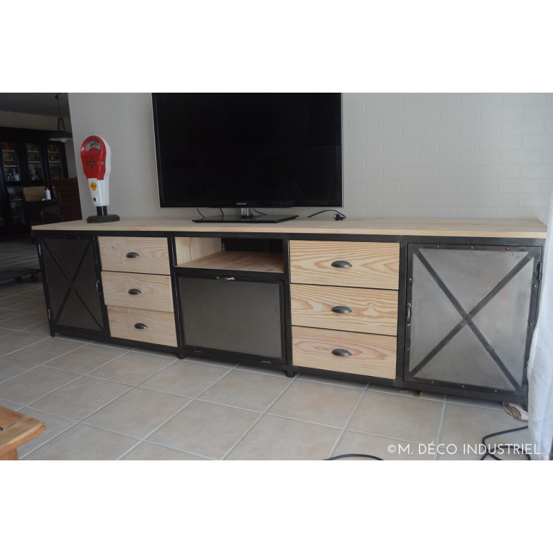 meuble tv industriel xl en m tal et bois massif 2 portes acier rivet 6 tiroirs en bois 1 clapet. Black Bedroom Furniture Sets. Home Design Ideas