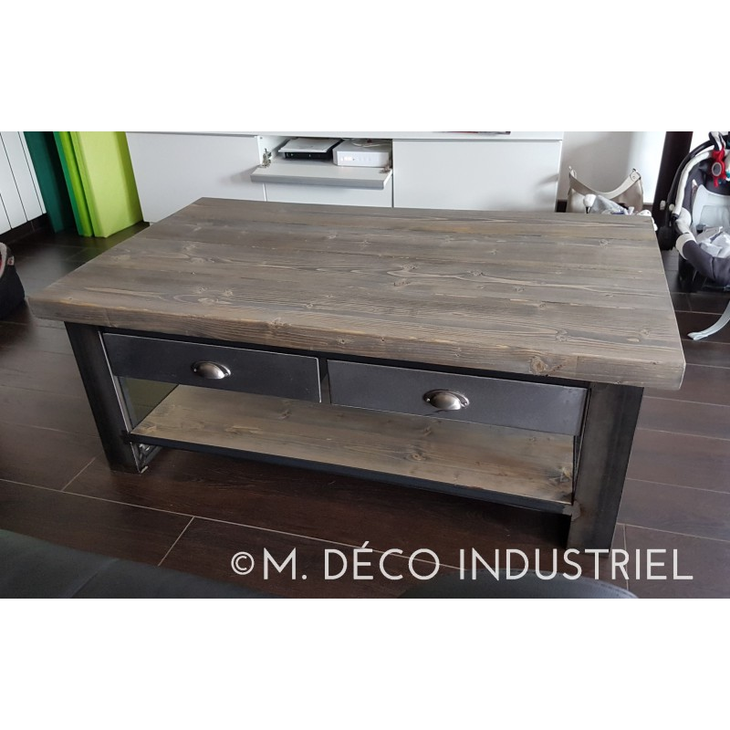 meuble industriel table basse industriel m tal et bois avec tiroir acier m d co industriel. Black Bedroom Furniture Sets. Home Design Ideas