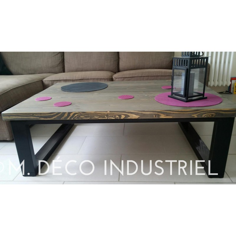 table basse style industriel acier et bois m d co industriel. Black Bedroom Furniture Sets. Home Design Ideas