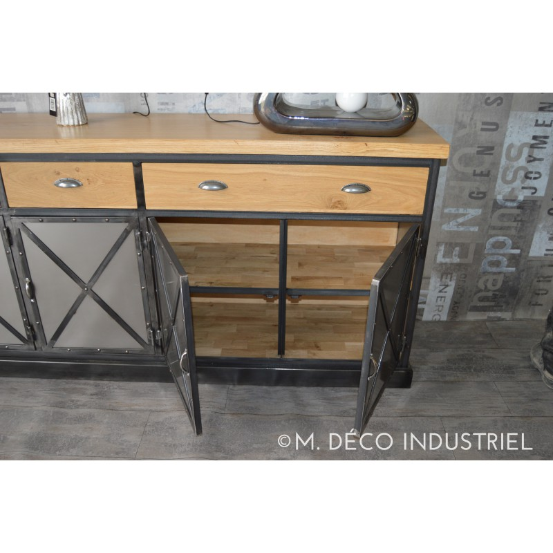 buffet industriel 5 portes acier et ch ne massif naturel m d co industriel. Black Bedroom Furniture Sets. Home Design Ideas