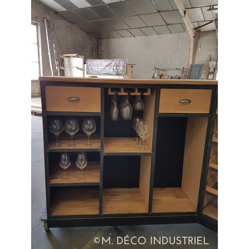 meuble industriel bar en acier et ch ne massif naturel m d co industriel. Black Bedroom Furniture Sets. Home Design Ideas