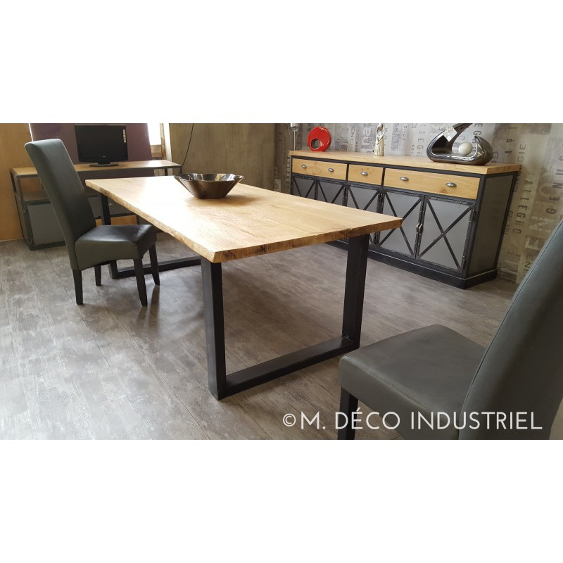 meuble industriel table de salle manger en ch ne massif. Black Bedroom Furniture Sets. Home Design Ideas