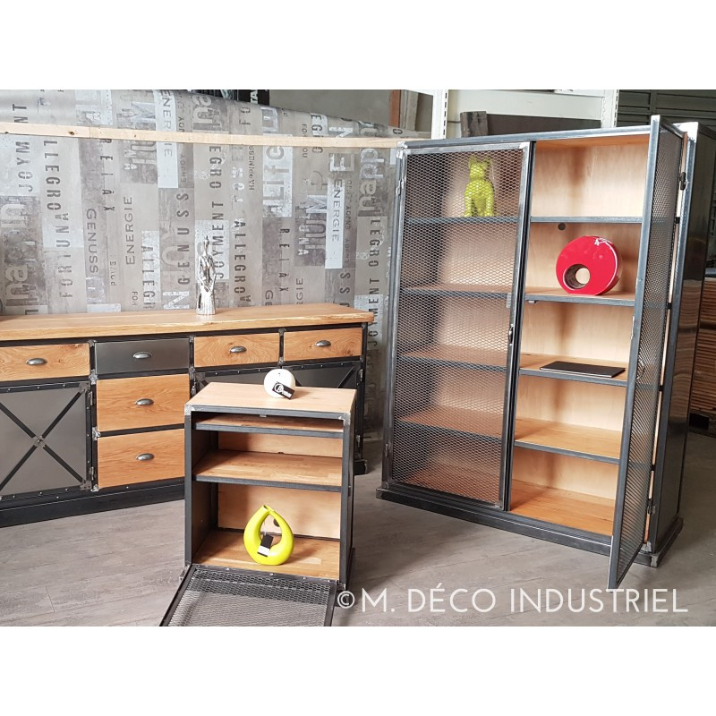 buffet biblioth que industriel portes grillag m d co. Black Bedroom Furniture Sets. Home Design Ideas