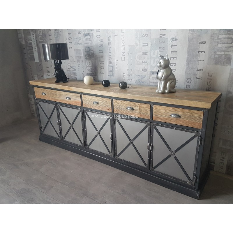meuble industriel buffet 5 portes bois vieillis m d co industriel. Black Bedroom Furniture Sets. Home Design Ideas