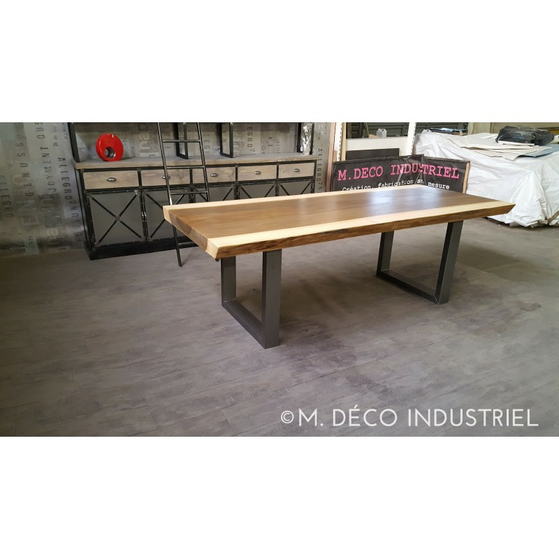 meuble industriel table de salle manger en ayous massif 8 cm m d co industriel. Black Bedroom Furniture Sets. Home Design Ideas