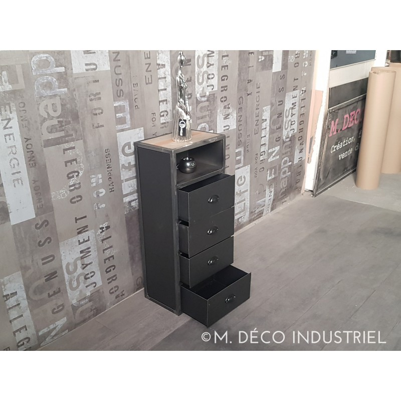 meuble industriel tiroirs acier m d co industriel. Black Bedroom Furniture Sets. Home Design Ideas