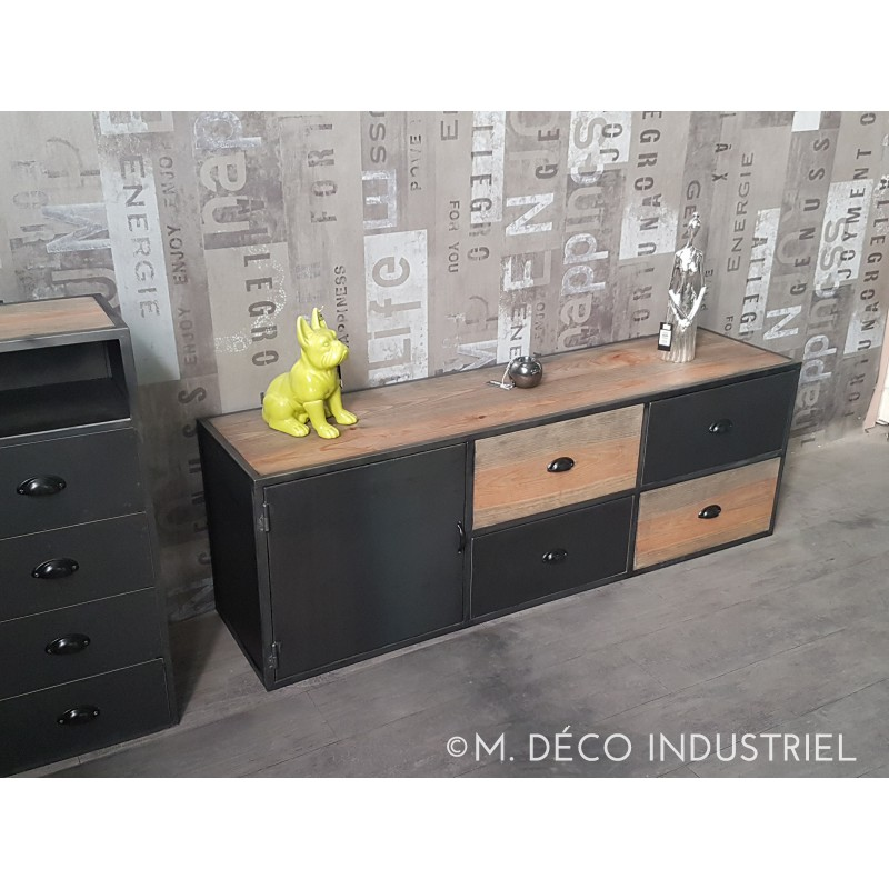 meuble tv industriel acier et bois vintage porte acier noir tiroir m d co industriel. Black Bedroom Furniture Sets. Home Design Ideas