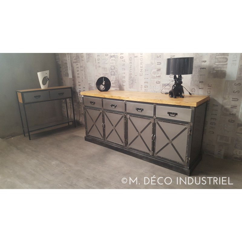 buffet industriel acier 4 portes et 4 tiroirs acier m d co industriel. Black Bedroom Furniture Sets. Home Design Ideas