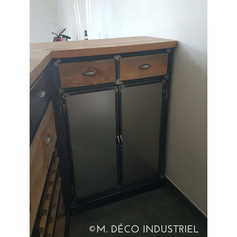 meuble industriel bar en acier et pin massif m d co. Black Bedroom Furniture Sets. Home Design Ideas
