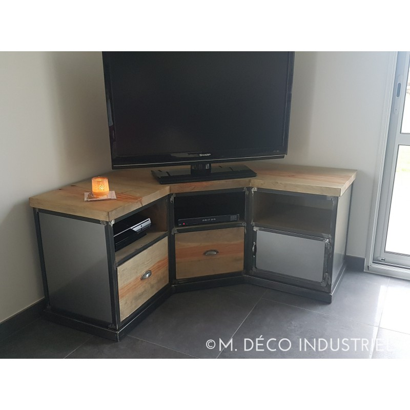 meuble tv d 39 angle industriel en acier et pin massif vieilli m d co industriel. Black Bedroom Furniture Sets. Home Design Ideas