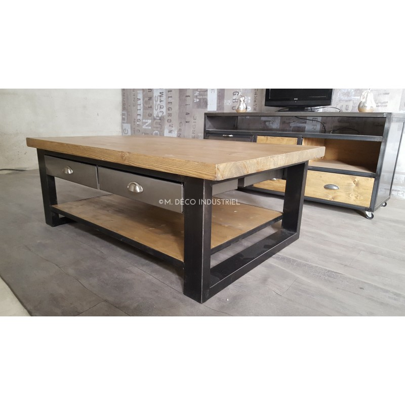 table basse industriel m tal et bois avec 4 tiroirs acier. Black Bedroom Furniture Sets. Home Design Ideas
