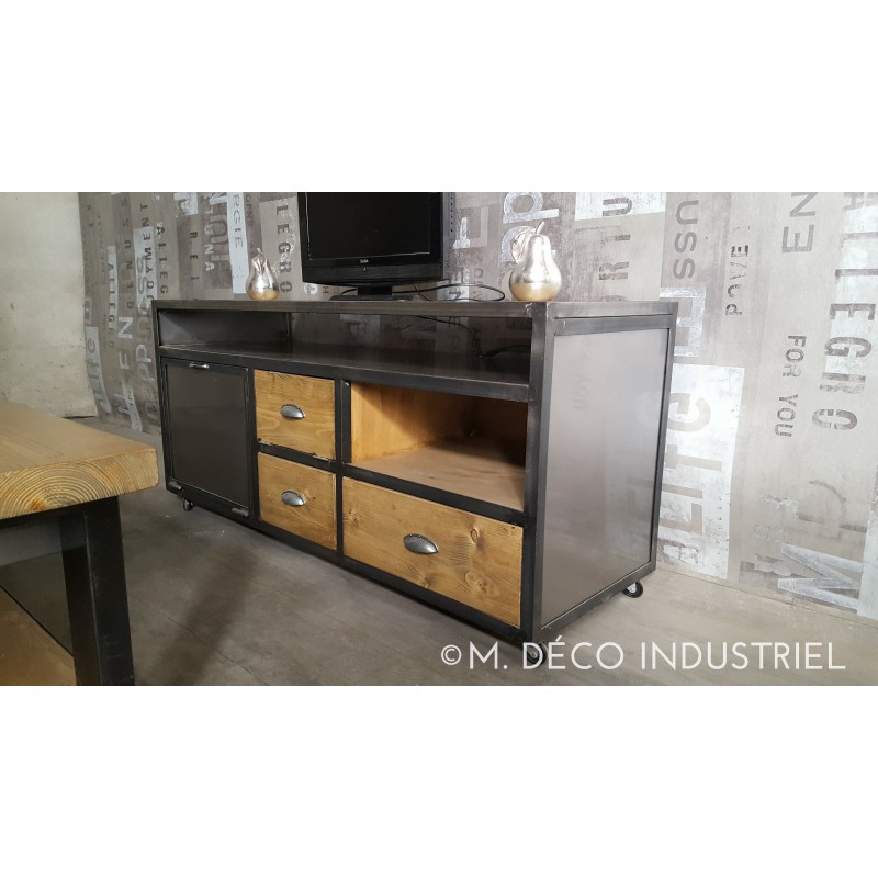 meuble industriel tv acier et sapin massif ch ne dor m d co industriel. Black Bedroom Furniture Sets. Home Design Ideas