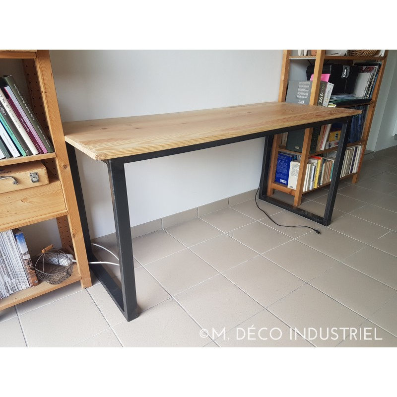 table industriel de salle manger acier et plateau en pin massif naturel m d co industriel. Black Bedroom Furniture Sets. Home Design Ideas