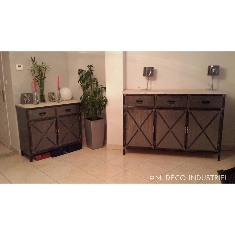 buffet industriel acier 3 portes plateau en sapin blanchi m d co industriel. Black Bedroom Furniture Sets. Home Design Ideas