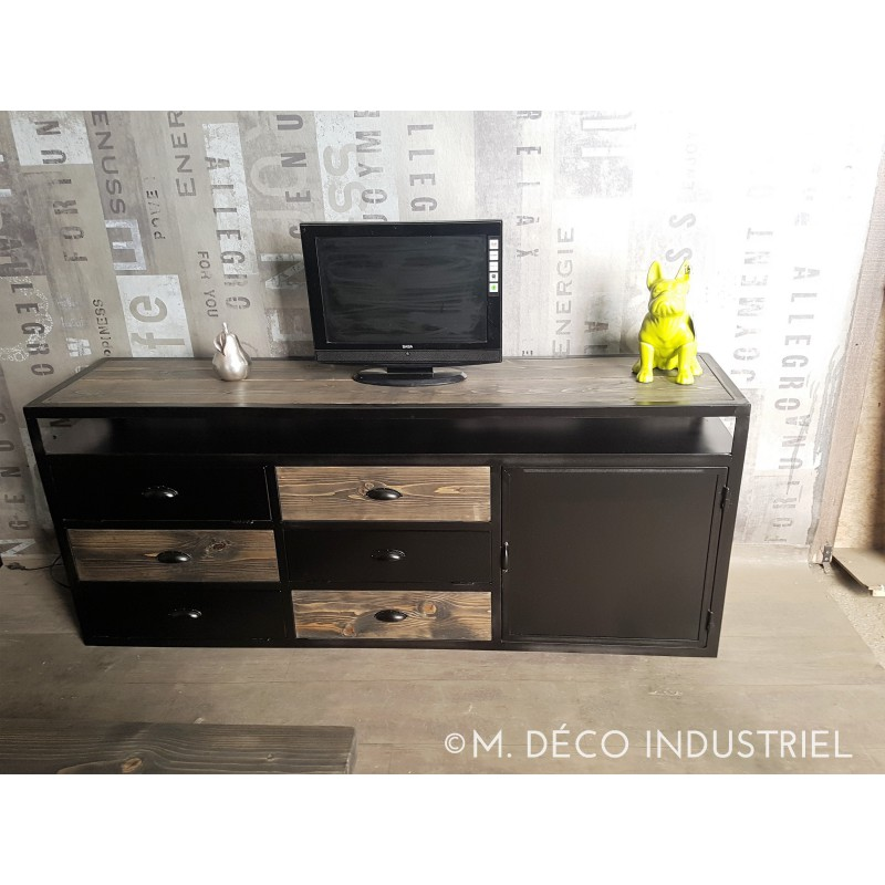 meuble tv industriel acier noirci et bois massif gris m d co industriel. Black Bedroom Furniture Sets. Home Design Ideas
