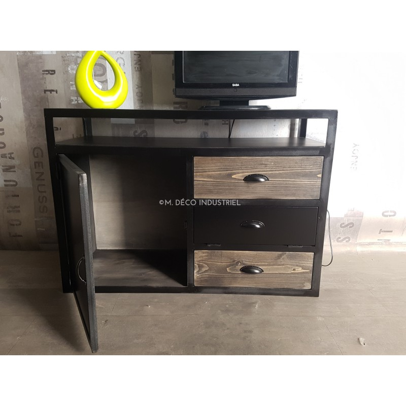 meuble tv industriel bois massif gris et acier noirci m d co industriel. Black Bedroom Furniture Sets. Home Design Ideas