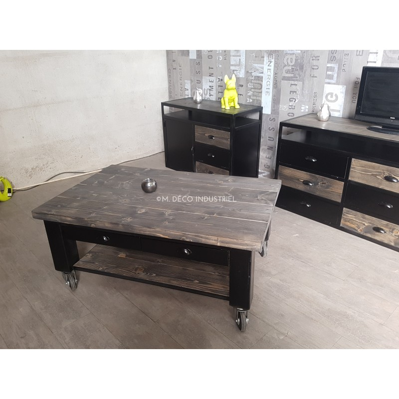 table basse industriel acier et sapin massif gris sur. Black Bedroom Furniture Sets. Home Design Ideas