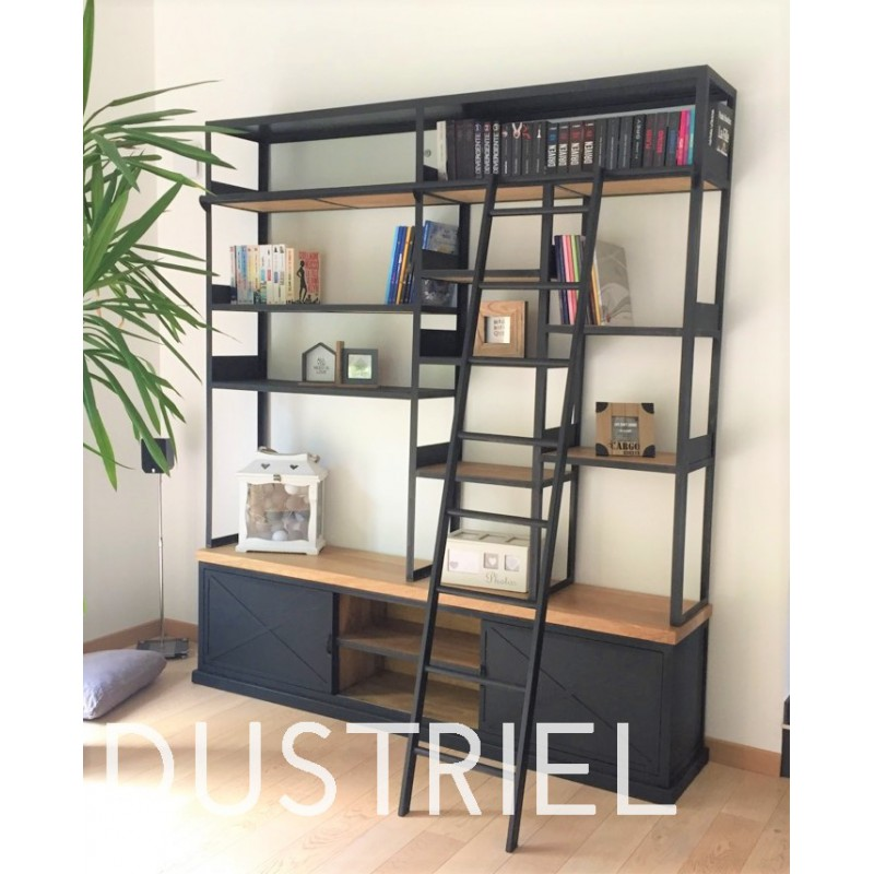 meuble bas biblioth que industriel en ch ne massif avec chelle acier m d co industriel. Black Bedroom Furniture Sets. Home Design Ideas