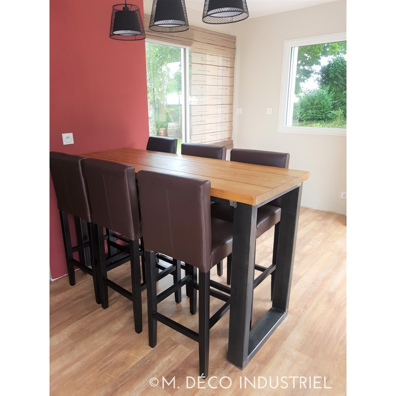 table mange debout style industriel acier et sapin massif dor m d co industriel. Black Bedroom Furniture Sets. Home Design Ideas