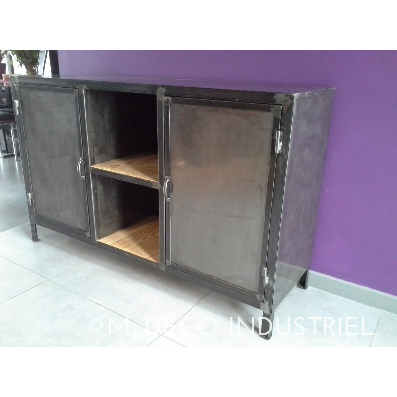 meuble industriel buffet structure acier 2 portes en acier bross vernis m d co industriel. Black Bedroom Furniture Sets. Home Design Ideas