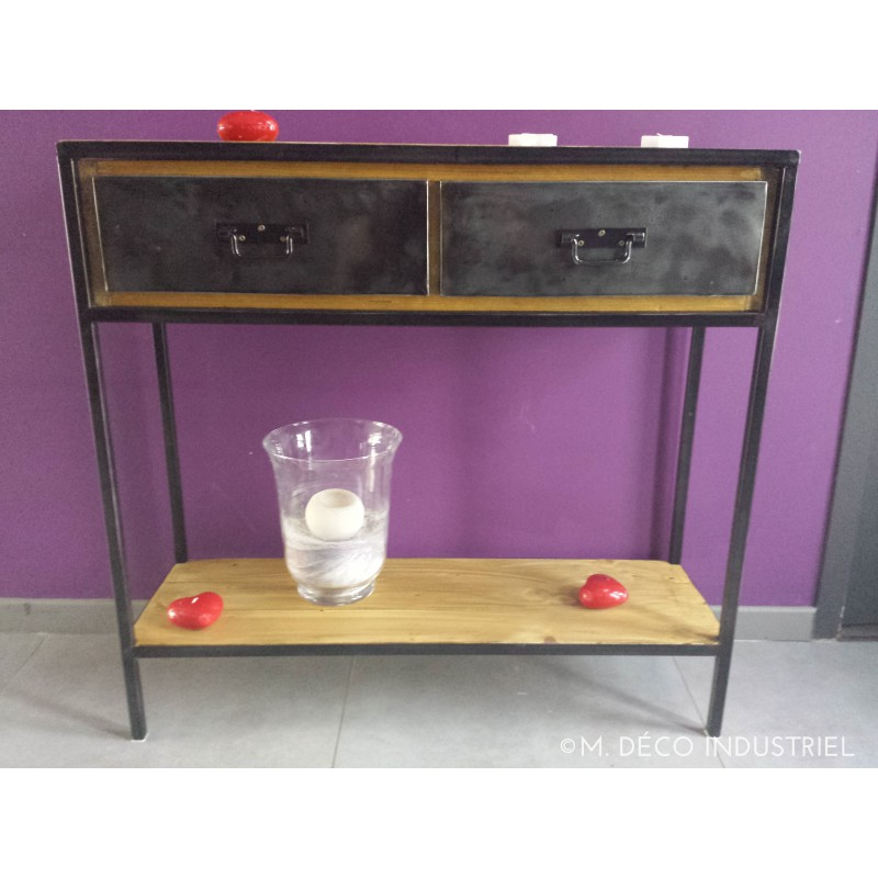 console style industriel 2 tiroirs en bois massif m d co industriel. Black Bedroom Furniture Sets. Home Design Ideas
