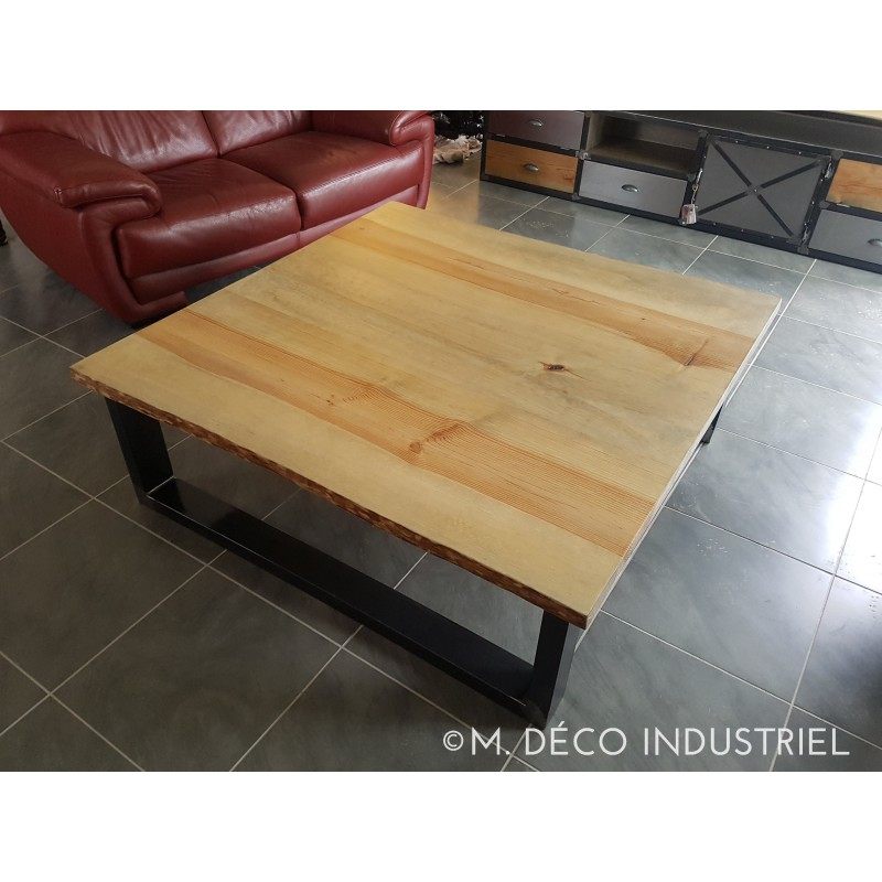 table basse style industriel pin massif 45 m d co industriel. Black Bedroom Furniture Sets. Home Design Ideas