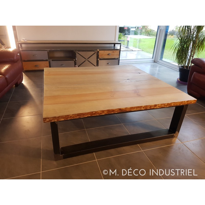 Table basse style industriel pin massif 45 m d co industriel - Table basse vintage industriel ...