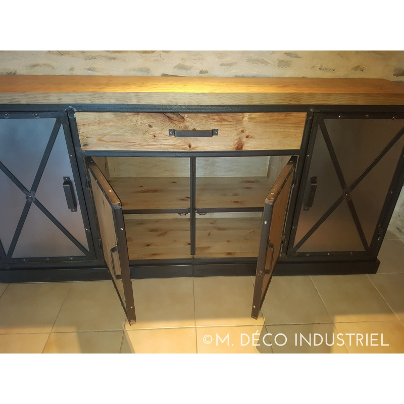 buffet style industriel sur mesure bois et m tal fabrication fran aise. Black Bedroom Furniture Sets. Home Design Ideas